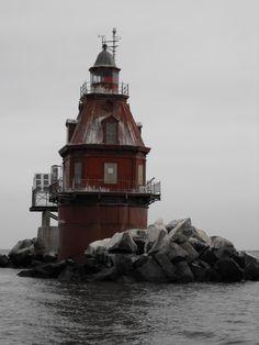 Ship John Shoal Light ship channel in Delaware Bay. Sea Breeze, New Jersey US