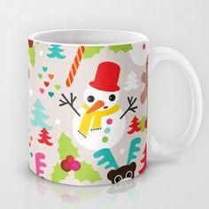 Christmas retro kids illustration pattern Mug by Little Smilemakers Studio - $15.00