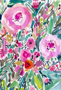PINK POW WOW FLORAL – BARBARIAN by Barbra Ignatiev   Bold colorful art