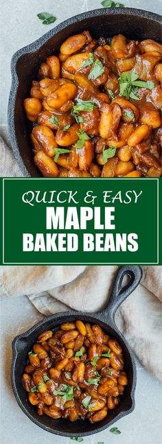 I love these quick and easy maple baked beans for fall! They are comforting but also healthy and vegan!