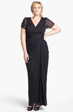 Adrianna Papell Draped Mesh Gown (Plus Size) available at #Nordstrom. Performance dress.