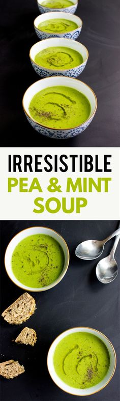 Irresistible Pea and Mint Soup - perfect for any season | http://hurrythefoodup.com