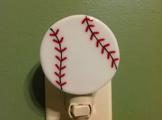 Baseball Sports Fused Glass Play Ball Night Light by LaGlasSea