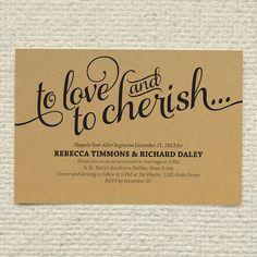 DIY Kraft Paper Wedding Invitation - Love & Cherish Script - DIY Printable PDF Template - Instant Download - Calligraphy, Typography