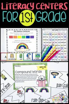 """""""Wow! I can't say enough good things about this resource! As a first year teacher, these took all of my anxiety (about planning center activities) away! My students love the fun activities and get so excited about sharing what they are practicing in each activity. LOVE LOVE LOVE!!!"""" first grade writing, literacy centers, first grade reading"""