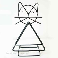 Quizical Cat Eames-style napkin or letter holder