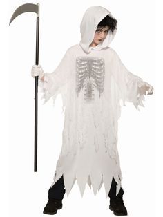 Let your child take on the look of Death himself this Halloween season with the Fright Reaper Child's Halloween Costume. For a scary Hallows Eve, this dark, mysterious costume is perfect for your little one's trick-or-treating route. Halloween Season, Halloween Night, Halloween Costumes For Kids, Spooky Halloween, Reaper Costume, Horror Costume, Unisex Baby Clothes, Hallows Eve, Costume Accessories