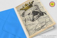 English bulldog crowned Greeting Card with by naturapicta on Etsy ©NATURA PICTA All Rights Reserved
