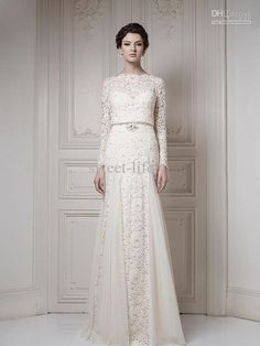 Wholesale 2014 New Style Lace Long Sleeve A-Line Wedding Dresses Bridal Dress Gowns for Wedding Bride High Quality Cheap Custom Made Beads Bateau, Free shipping, $149.0/Piece | DHgate Mobile