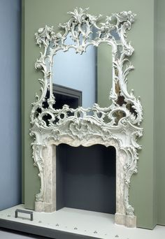 Rococo chinmenypiece of the mid century. Surprisingly, this rococo riot is English; it perhaps decorated a chamber or intimate parlor and owes much to the designs of Chippendale and Johnson. Fireplace Surrounds, Fireplace Mantels, Fireplaces, White Fireplace, Bedroom Fireplace, Beautiful Mirrors, Rococo Style, Victoria And Albert Museum, Decoration