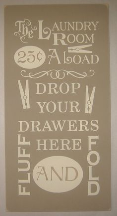 The Laundry Room, Fluff and Fold, Typography, Wall Art, Word Art, Sign, Decor
