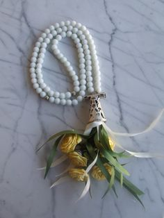 White 99 islamic prayer beads with yellow flowers, Tasbih, Tesbih, Necklaces