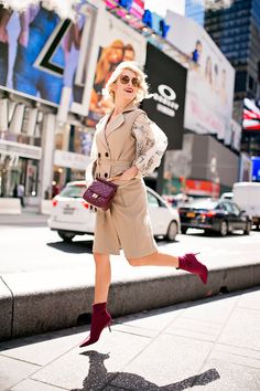 Camel Trench Coat Vest and Burgundy bag and shoes