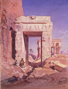 Doorway from Temple of Isis to temple called Bed of the Pharaohs, Island of Philaea, Egypt by Carl Friedrich Heinrich Werner