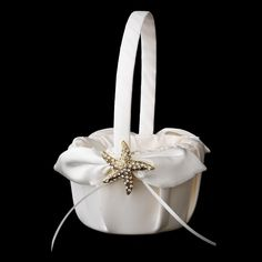 -Clear Flower Girl Basket 17 with Gold Clear Starfish Brooch 93