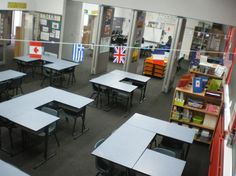 Set up of 5 desks so noone is without a neighbor..Galleries of classroom photos