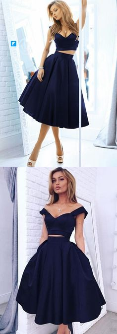 chic off the shoulder navy satin homecoming dress