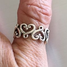 Sterling Silver  Eternity Heart Ring, Pinky Ring, Index Ring, Thumb Ring by IndigoandJade on Etsy
