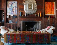 Kelly Framel, from The Glamourai, recently paid a visit to Nanette Lepore's Amagansett home and man, is it fabulously groovy! The unrestrained inclusion of color, art (mostly painted by family members) and kitsch add to… Living Room Designs, Living Spaces, Interior And Exterior, Interior Design, Interior Photo, Bohemian Interior, Bohemian Decor, Furniture Deals, Decorating On A Budget