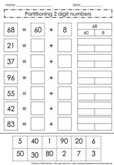 A fun cut and paste worksheet that can be used to consolidate partitioning of 2 digit numbers. Can be used as a guided or independent task. Please leave feedback if you like the activity and help me improve my store :). Kindergarten Math Worksheets, School Worksheets, Preschool Learning, Math Resources, Teaching Math, Math Activities, Teaching Geography, Kindergarten Coloring Pages, Math Charts