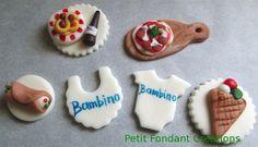Italian inspired baby shower fondant cupcake toppers!!