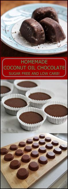 Imagine that you're on the low-carb diet and still you eat chocolate. Well, it is not imagination! It is possible with homemade sugar-free chocolate. We found an amazing recipe with coconut oil and cocoa. Of course, instead of sugar, we use Splenda. Sugar Free Desserts, Sugar Free Recipes, Low Carb Desserts, Candy Recipes, Healthy Desserts, Just Desserts, Low Carb Recipes, Dessert Recipes, Autumn Desserts