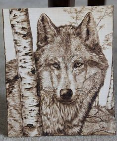 Pyrography The Wolf Pyrography Designs, Pyrography Patterns, Wood Carving Patterns, Wood Burning Stencils, Wood Burning Crafts, Wood Burning Art, Wood Burning Techniques, Wood Burn Designs, Wood Creations