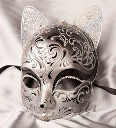 Venetian Masquerade Masks | Luxury Venetian Cat Mask with Swarovski Crystals - GATTO FU SILVER