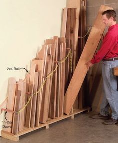 Space limitations and want to keep scrap lumber at a reasonable and safe level?  Try this vertical storage rack for lumber of all lengths.