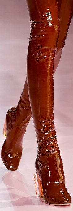 Christian Dior ~ Fall Brown Patent Leather Tall Boots 2015