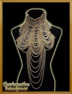 PEARL BURLESQUE COSTUME JEWELERY Choker Necklace