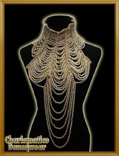 PEARL BURLESQUE COSTUME JEWELERY Choker Necklace