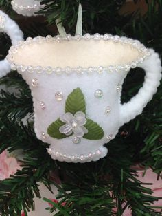 Sequin & Beaded White Felt Tea Cup Christmas Ornament - Shabby Chic - Cottage Chic - READY to SHIP - by lindasornaments on Etsy