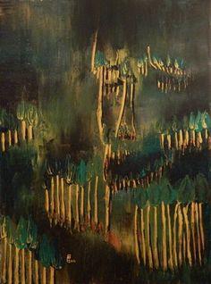 "Saatchi Online Artist Paul Costin; Painting, ""Forest's spirit"" #art September 2012, 40×30 cm, oil on canvas, palette knife technique"