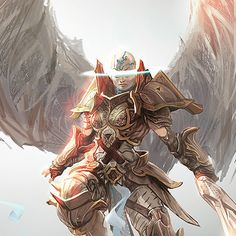 Angel concept art for Magic: The Gathering / Battle for Zendikar.  Done during a three weeks concept push. The idea was to play with the usual representation of an angel, keeping the basics but finding something more : the halo isn't around the head but part of it, like some kind of mystical vision and power.