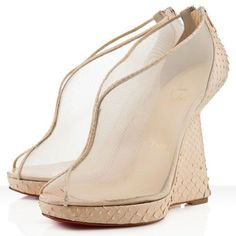 Christian Louboutin Janet 120mm Python Wedges Cipria