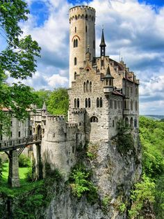 Lichtenstein Castle, Swabian Alb, Baden-Württemberg, (Germany)    Historically there has been a castle on the site since around 1200. It was twice destroyed, once in the Reichskriegs war of 1311 and again by the city-state of Reutlingen in 1381. The castle was not reconstructed and subsequently fell to ruin.