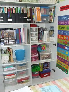 great organization of closet in homeschool room  @Liz Huckleby maybe you could get one of the closed bookcases and do this idea?
