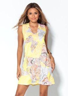 Šaty s potlačou motýľov #ModinoSK #yellow #pastel #dress