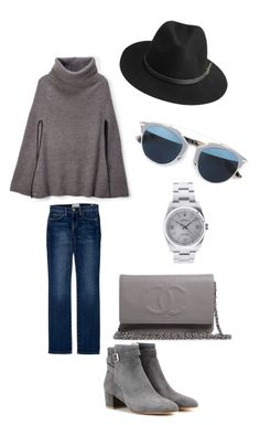 """""""girls nite out.. gray nite!"""" by ranins on Polyvore featuring Ralph Lauren, Current/Elliott, Gianvito Rossi, Chanel, Christian Dior, BeckSöndergaard, Rolex, women's clothing, women's fashion and women"""