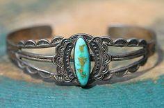 Vintage Navajo Sterling Silver Turquoise Train Station Era Tourist Bracelet | eBay