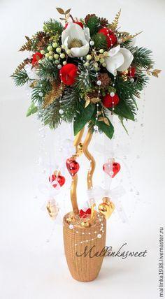 """Купить Топиарий, новогоднее дерево счасья """"Магнолия"""" - болотный, топиарий…"""