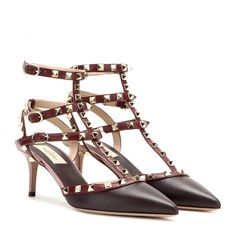 Valentino - Rockstud leather kitten-heel pumps - $1145