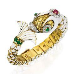 Lot 414 - 18 Karat Gold, Platinum, Diamond, Colored Stone and Enamel Bangle-Bracelet, David Webb