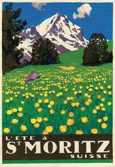 Vintage Travel Poster - St. Moritz -Switzerland - by J. Courvoisier.