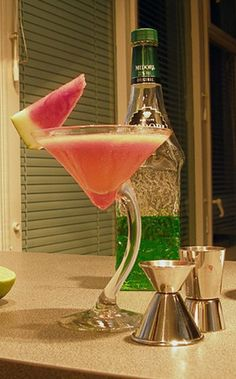 Watermelon cocktail.Gin based mixed drink with nice combination of watermelon juice and melon liqueur Midori.Yummy!!!