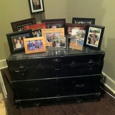 I repurpose an my great-grandmother's old trunk as a side table. Super-simple: I painted it and had a piece of glass cut for the top. The best part is, since it's a trunk, I can use it for storage too. Old Trunks, Vintage Trunks, Old Trunk Redo, Soapstone Countertops, Porous Materials, Steamer Trunk, Storage Trunk, Painted Furniture, Furniture Redo