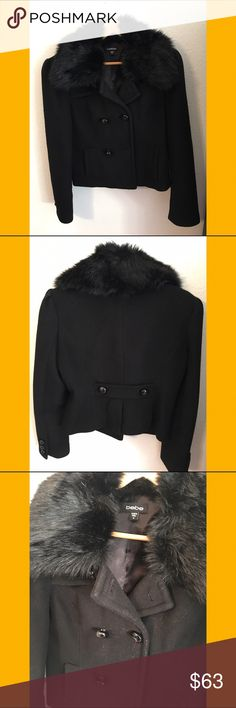 💋Bebe Wool Jacket With Faux Fur Collar💋 Well worn. Fur collar is removable with a normal wool collar underneath. Slight piling on the front (pictured). Missing a button on the front (pictured). Unfortunately I no longer have the extra buttons that came with it. Outside is 75% wool, 15% tencel, and 10% nylon. Lining is 100% polyester. Short jacket but not cropped. Price is firm. Only looking to sell so no trades. bebe Jackets & Coats
