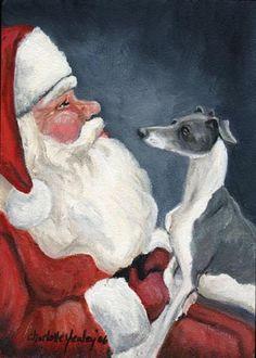 Italian Greyhound And Santa Painting  - Italian Greyhound And Santa Fine Art Print