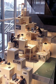 WE Architecture Gallery Unveils Pixelated Pop-Up Architecture Office at BLOX Copenhagen - 5 . - WE Architecture Gallery Unveils Pixelated Pop-Up Architecture Office at BLOX Copenhagen – 5 … - Office Space Design, Library Design, Office Interior Design, Cafe Design, Office Interiors, House Design, Public Space Design, Modern Library, Workplace Design